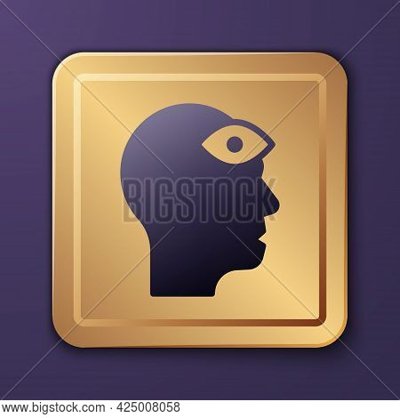 Purple Man With Third Eye Icon Isolated On Purple Background. The Concept Of Meditation, Vision Of E