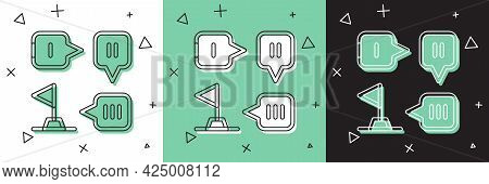 Set Planning Strategy Concept Icon Isolated On White And Green, Black Background. Formation And Tact