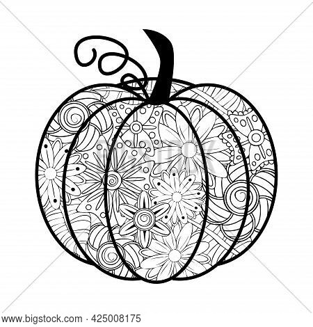 Doodle Design Of Halloween Pumpkin For Halloween Card Invitations And Adult Coloring Book Pages