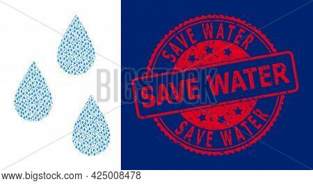 Save Water Rubber Round Stamp Seal And Vector Recursion Collage Water Drops. Red Stamp Seal Includes
