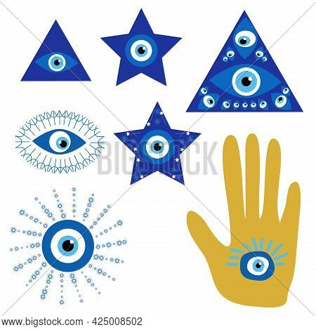 Evil Eyes. Set Of Hand Drawn Various Talismans. Different Shapes. Flat Design. Free Hand Drawing Sty
