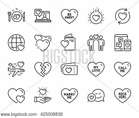 Vector Set Of Heart, Marry Me And Nice Girl Line Icons Set. My Love, Love And Romantic Dinner Icons.