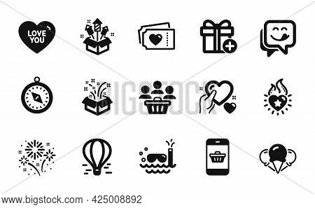 Vector Set Of Love Tickets, Gift And Love You Icons Simple Set. Heart Flame, Travel Compass And Fire