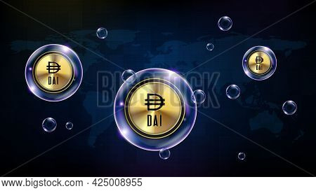 Abstract Background Of Futuristic Technology Bubble Glowing Cryptocurrency Dai Stable Coin