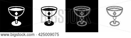 Set Medieval Goblet Icon Isolated On Black And White Background. Vector