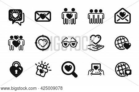 Vector Set Of Friends Couple, Love Gift And Love Glasses Icons Simple Set. World Brand, Friendship A