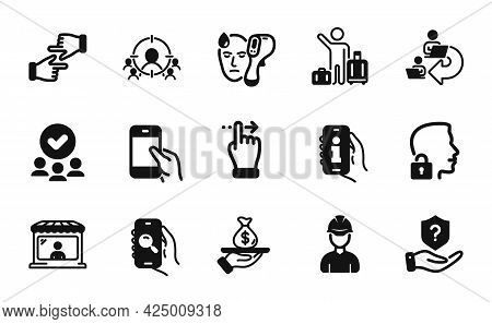 Vector Set Of Touchscreen Gesture, Airport Transfer And Foreman Icons Simple Set. Approved Group, Bu