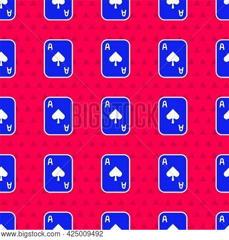 Blue Playing Cards Icon Isolated Seamless Pattern On Red Background. Casino Gambling. Vector
