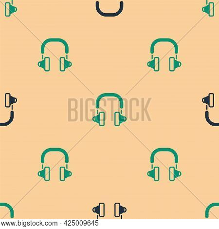Green And Black Headphones Icon Isolated Seamless Pattern On Beige Background. Earphones. Concept Fo