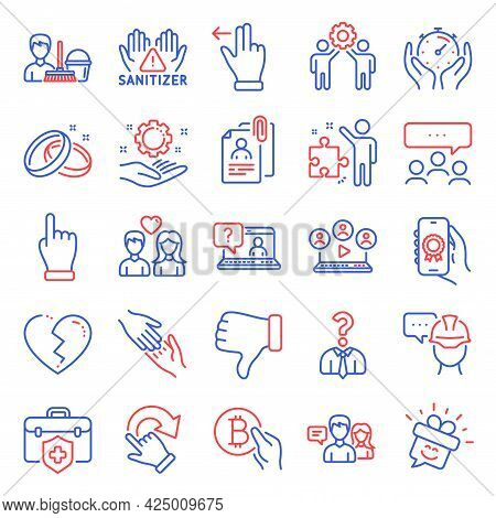People Icons Set. Included Icon As Cleaning Service, Strategy, Meeting Signs. Timer, Video Conferenc