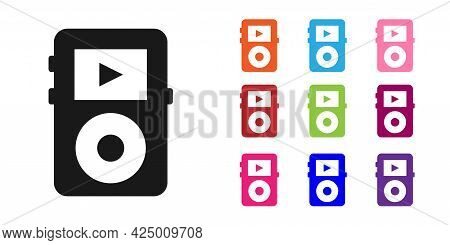 Black Music Player Icon Isolated On White Background. Portable Music Device. Set Icons Colorful. Vec