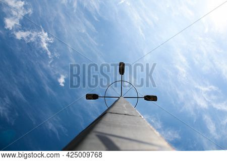 Spaceship In Outer Space. Long Metal Beam With A Special Electronic Antenna At The End On The Backgr
