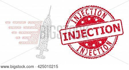 Injection Unclean Seal Imitation And Vector Fast Vaccination Mesh Model. Red Seal Contains Injection