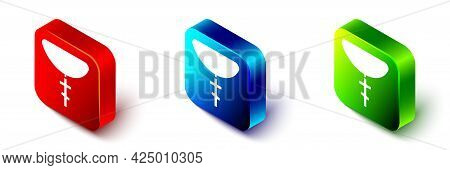 Isometric Christian Cross On Chain Icon Isolated On White Background. Church Cross. Red, Blue And Gr