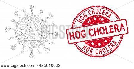 Hog Cholera Grunge Seal Imitation And Vector Delta Coronavirus Mesh Model. Red Seal Contains Hog Cho