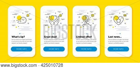 Vector Set Of Fast Delivery, Bitcoin Project And Hold Heart Line Icons Set. Ui Phone App Screens Wit