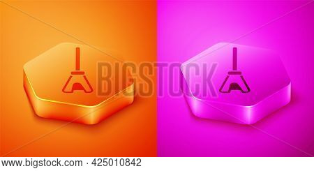 Isometric Mop Icon Isolated On Orange And Pink Background. Cleaning Service Concept. Hexagon Button.