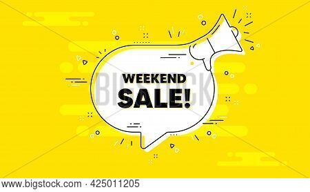 Weekend Sale Text. Alert Megaphone Yellow Chat Banner. Special Offer Price Sign. Advertising Discoun