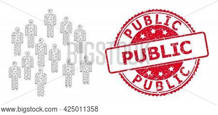 Public Scratched Seal Print And Vector People Crowd Mesh Structure. Red Stamp Seal Contains Public T