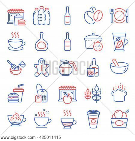 Food And Drink Icons Set. Included Icon As Doppio, Ice Cream, Restaurant Food Signs. Gingerbread Man