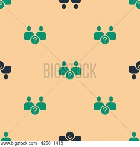 Green And Black Complicated Relationship Icon Isolated Seamless Pattern On Beige Background. Bad Com