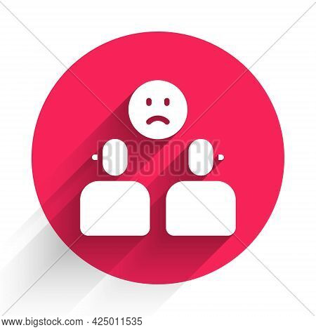 White Complicated Relationship Icon Isolated With Long Shadow. Bad Communication. Colleague Complica