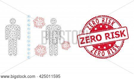 Zero Risk Scratched Seal Print And Vector Virus Shield Wall Mesh Structure. Red Stamp Seal Contains