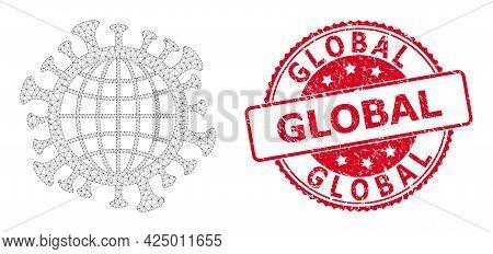 Global Textured Watermark And Vector Global Coronavirus Mesh Model. Red Stamp Seal Includes Global C