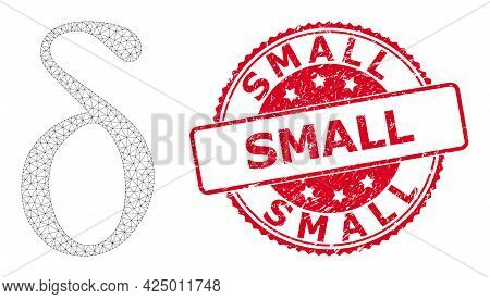 Small Dirty Stamp Seal And Vector Delta Small Letter Mesh Structure. Red Stamp Seal Includes Small T