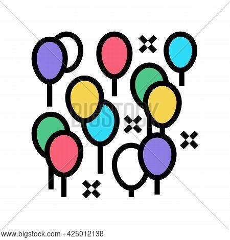 Party Decoration Balloon Color Icon Vector. Party Decoration Balloon Sign. Isolated Symbol Illustrat