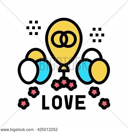 Wedding Day Balloons Decoration Color Icon Vector. Wedding Day Balloons Decoration Sign. Isolated Sy
