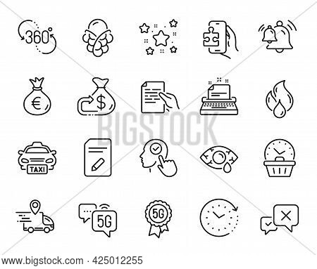 Vector Set Of Hold Document, Stars And Reject Line Icons Set. Time Change, Typewriter And Taxi Icons