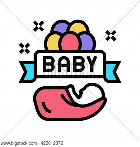 Baby Born Celebration Balloons Color Icon Vector. Baby Born Celebration Balloons Sign. Isolated Symb