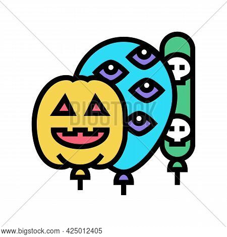 Halloween Party Balloons Decoration Color Icon Vector. Halloween Party Balloons Decoration Sign. Iso