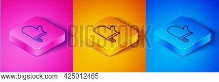 Isometric Line Oven Glove Icon Isolated On Pink And Orange, Blue Background. Kitchen Potholder Sign.