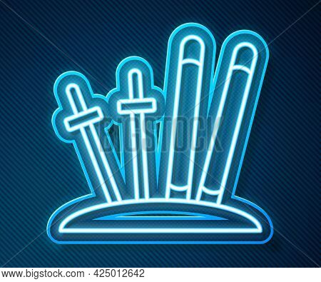 Glowing Neon Line Ski And Sticks Icon Isolated On Blue Background. Extreme Sport. Skiing Equipment.