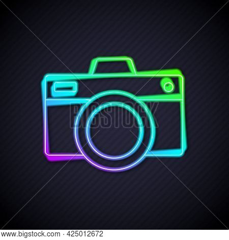 Glowing Neon Line Photo Camera Icon Isolated On Black Background. Foto Camera Icon. Vector