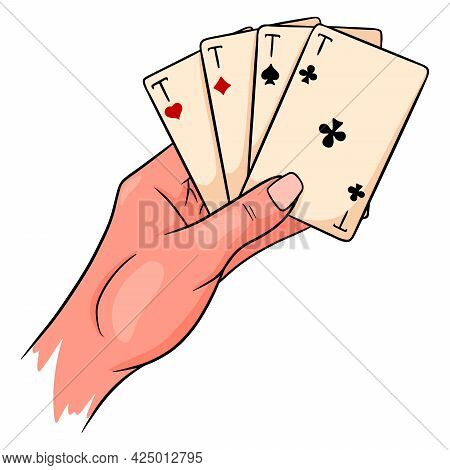 Gambling. Playing Cards In Hand. Casino, Luck, Fortuna. Four Aces.