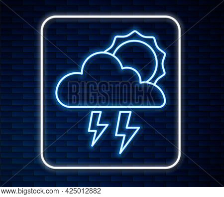 Glowing Neon Line Storm Icon Isolated On Brick Wall Background. Cloud With Lightning And Sun Sign. W