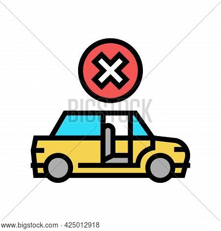 Prohibition To Get In Stranger Car Color Icon Vector. Prohibition To Get In Stranger Car Sign. Isola