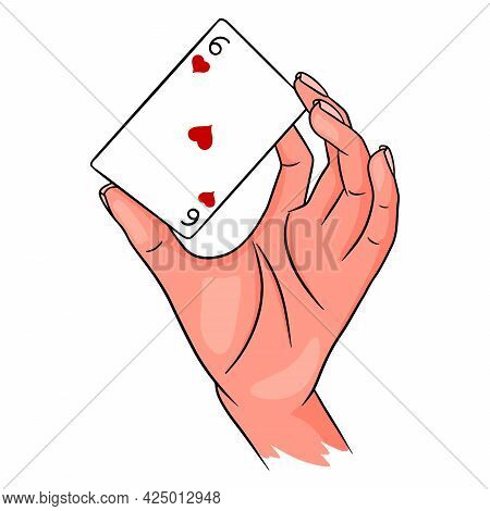 Gambling. Playing Card In Hand. Casino, Luck, Fortuna. Six Of Worms.