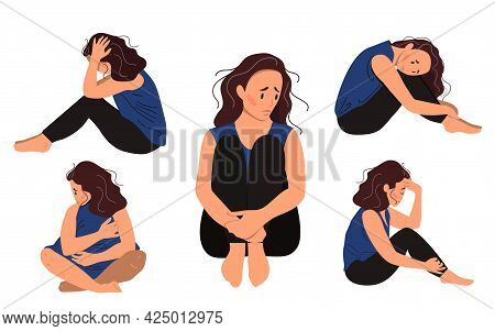 Set Of Depressed Young Unhappy Sitting Girls. Concept Of Mental Disorder. Colorful Vector Illustrati