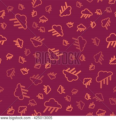 Brown Line Cloud With Rain Icon Isolated Seamless Pattern On Red Background. Rain Cloud Precipitatio