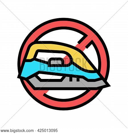 Ironing Children Safe Prohibition Sign Color Icon Vector. Ironing Children Safe Prohibition Sign Sig