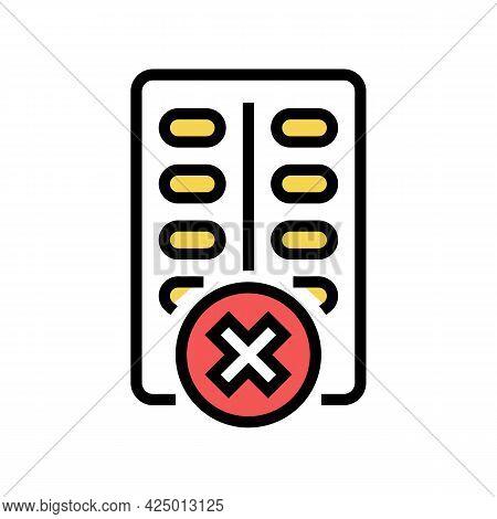 Medicines Prohibition For Children Color Icon Vector. Medicines Prohibition For Children Sign. Isola