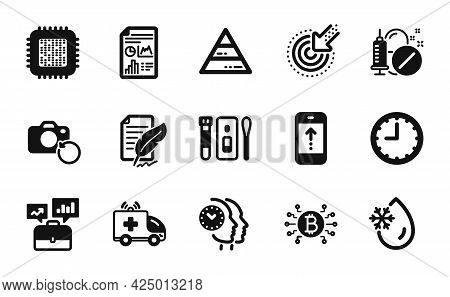 Vector Set Of Cpu Processor, Pyramid Chart And Time Icons Simple Set. Recovery Photo, Feather Signat