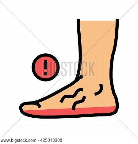 Disease Flat Feet Color Icon Vector. Disease Flat Feet Sign. Isolated Symbol Illustration