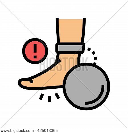 Heaviness In Legs Flat Feet Color Icon Vector. Heaviness In Legs Flat Feet Sign. Isolated Symbol Ill