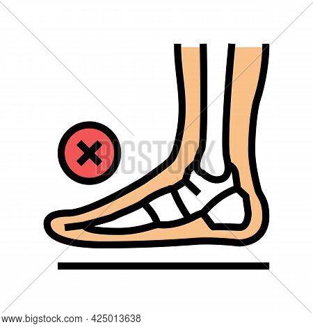 Bone Flat Feet Color Icon Vector. Bone Flat Feet Sign. Isolated Symbol Illustration
