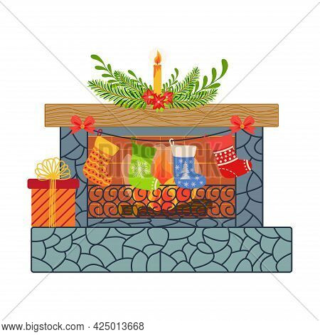 Merry Christmas Eve Happy New Year Flat Interior For Home Living Room. Decorations, Wreath On Wall A